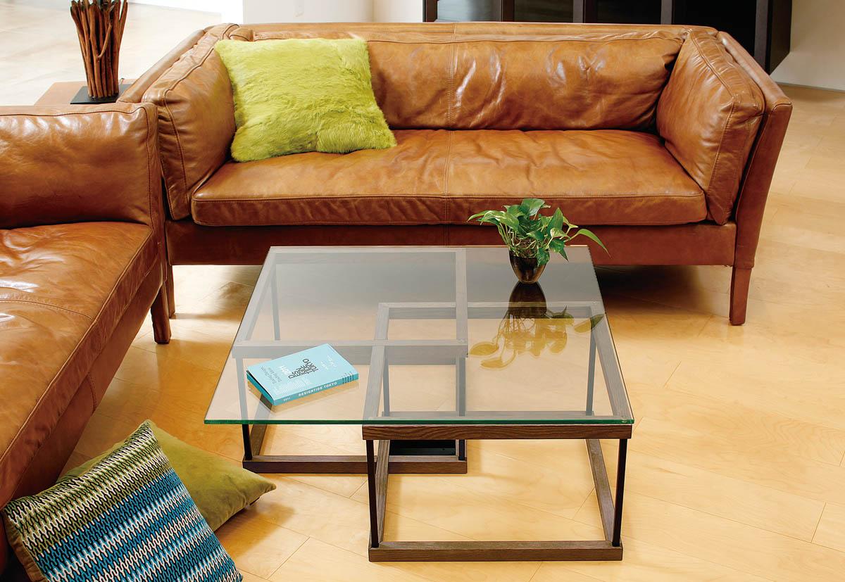 リビングテーブル WT-16 ガラス 正方形 800x800 [送料無料]