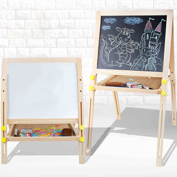 黒板ホワイトボード 超激安 日本最大級の品揃え 黒板消し チョーク マーカーペン 磁石付きマグネット 黒板 ホワイトボード おもちゃ子供玩具 折りたたみ 子供 高さ調節 マグネット イーゼル付き 木製 KO00008 脚付き黒板