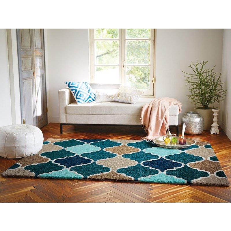 【東リ】ラグ TOR3815 140cm ×200cm 透き通るような深いブルーとランタン型のモロッコタイルのパターンが、エスニックな印象に。