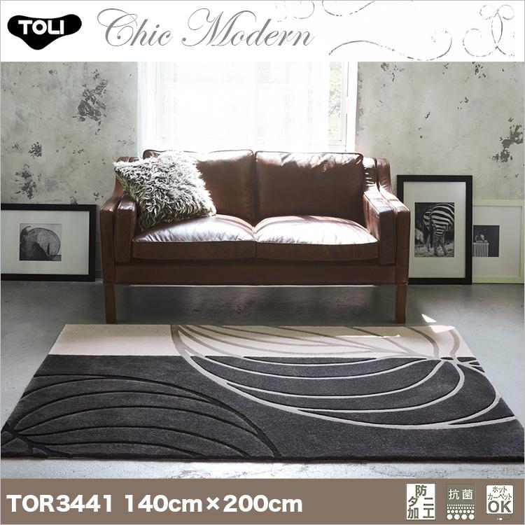 【東リ】ラグ TOR3646(TOR3441) 140cm×200cmリーフ柄もグレイッシュカラーでシックなデザインに。リーフ柄もグレイッシュカラーでシックなデザインに。