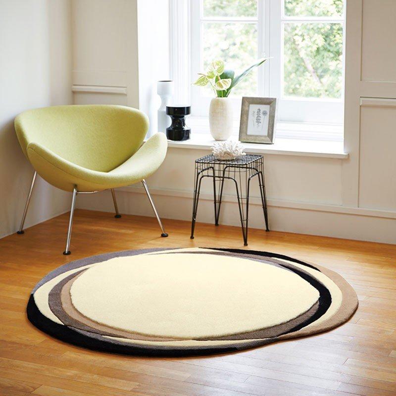 【東リ】ラグ TOR3809 150cm×150cm 優雅な円の重なりがモダンな印象に。