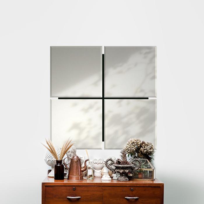 ノンフレーム モダン ミラー 鏡 壁掛け 吊り鏡 風水 おしゃれ 4面 デザイナーズミラー