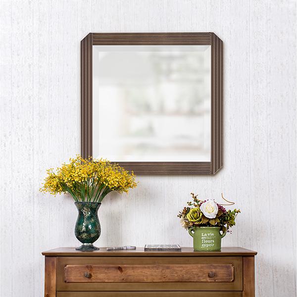 ウッドフレームミラー 家具調ミラー インテリア 壁掛け鏡 角型ミラー エントランス 玄関 リビング ベッドルーム 四角形 天然木 無垢材