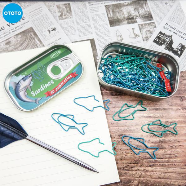 まるでイワシの缶詰みたい OTOTOSARDINE 日本製 PAPER CLIPS いわし 缶詰ペーパークリップ 新作通販 缶ケース付き魚 かわいい 文房具 クリップ