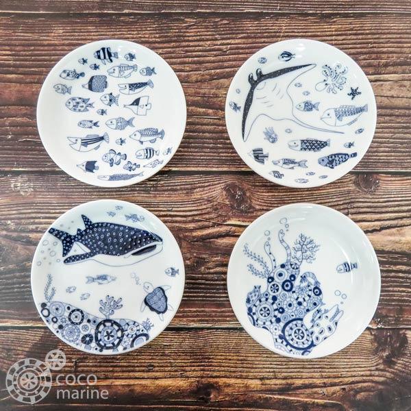 海のお魚が可愛いcocomarineシリーズの食器です メーカー直送 natural69cocomarine 小皿ジンベイザメ マンタ魚の群れ1 食器食器洗浄機 海の中波佐見焼おしゃれ 超激安特価 電子レンジOK日本製