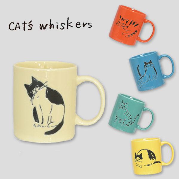 手書き風のネコがかわいいマグカップです Sugar Land CAT'S Whiskersマグ セール マグカップ ねこ コップ猫 [並行輸入品] ネコTVドラマ使用