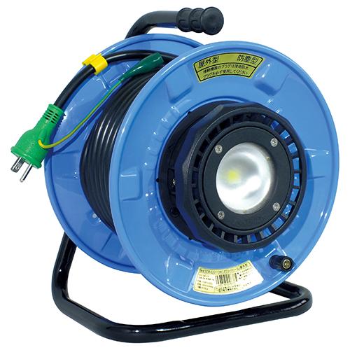電動工具・電工ドラム・コードの電工ドラム・20MSDW-E22-10W。明るいLEDライトが付いた電工ドラムです。 日動・LEDライトリール20m・SDW-E22-10W