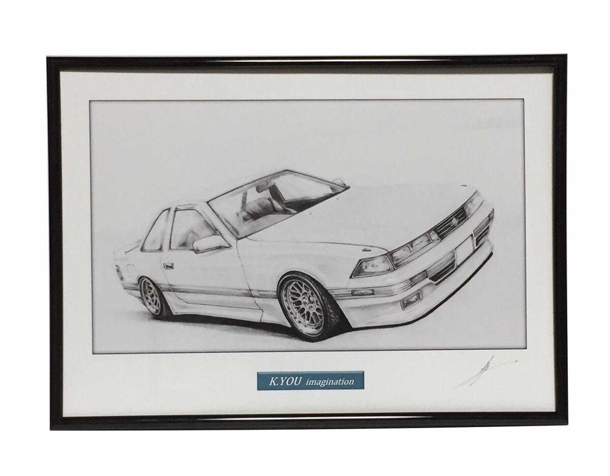 鉛筆画 トヨタ ソアラ Z20 限定タイムセール 好評 旧車 A4額入り 作者直筆サイン入り 原画コピー イラスト 名車