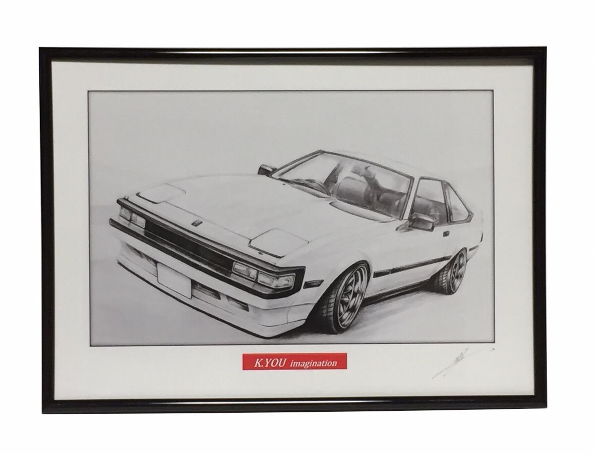 鉛筆画 トヨタ セリカ XX 新作 A60後期 旧車 イラスト 原画コピー 期間限定 作者直筆サイン入り 名車 A4額入り