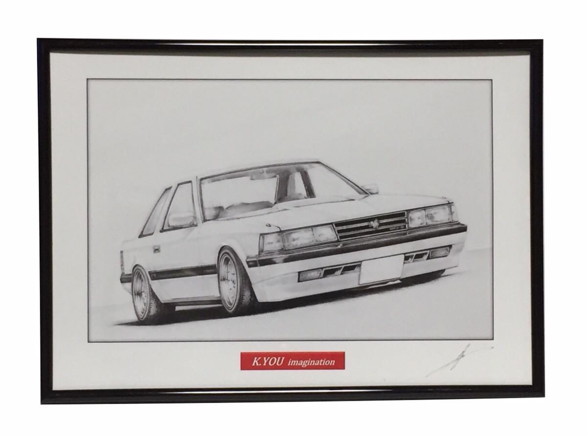 鉛筆画 トヨタ ソアラZ10 旧車 名車 イラスト 原画コピー 正規逆輸入品 世界の人気ブランド 作者直筆サイン入り A4額入り