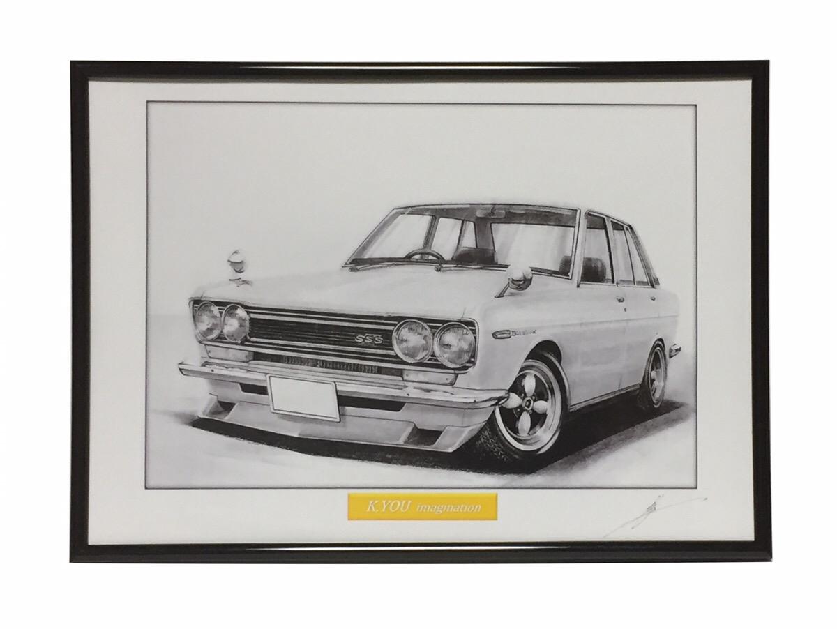 鉛筆画 510 ブルーバード 旧車 名車 高級な A4額入り イラスト 作者直筆サイン入り 値下げ 原画コピー