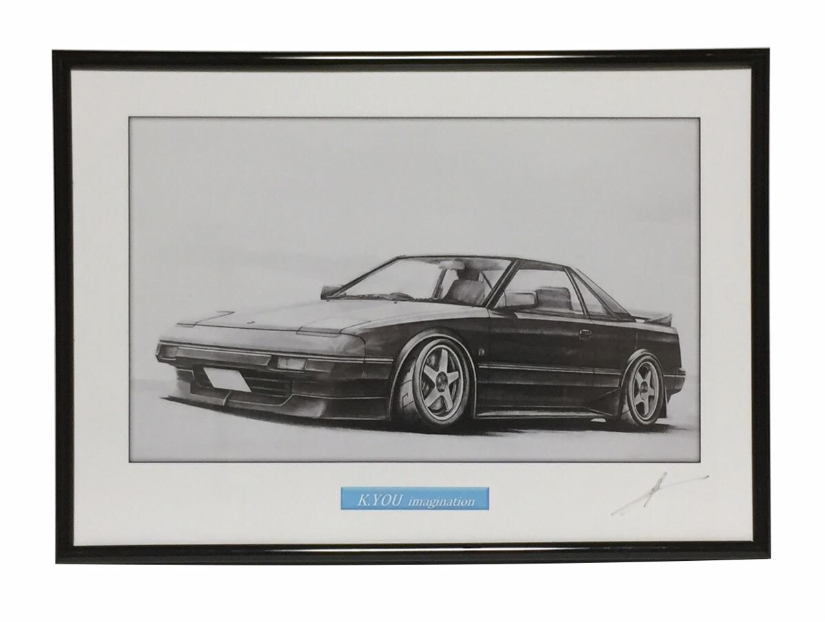 鉛筆画 トヨタ 贈物 MR-2 旧車 名車 初回限定 イラスト 原画コピー 作者直筆サイン入り A4額入り