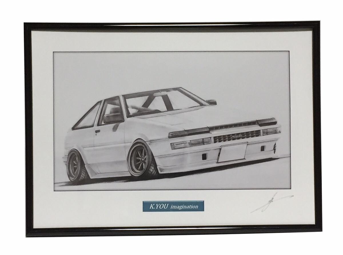 鉛筆画 トヨタ 入荷予定 86トレノ 旧車 名車 イラスト 原画コピー A4額入り 即納最大半額 作者直筆サイン入り