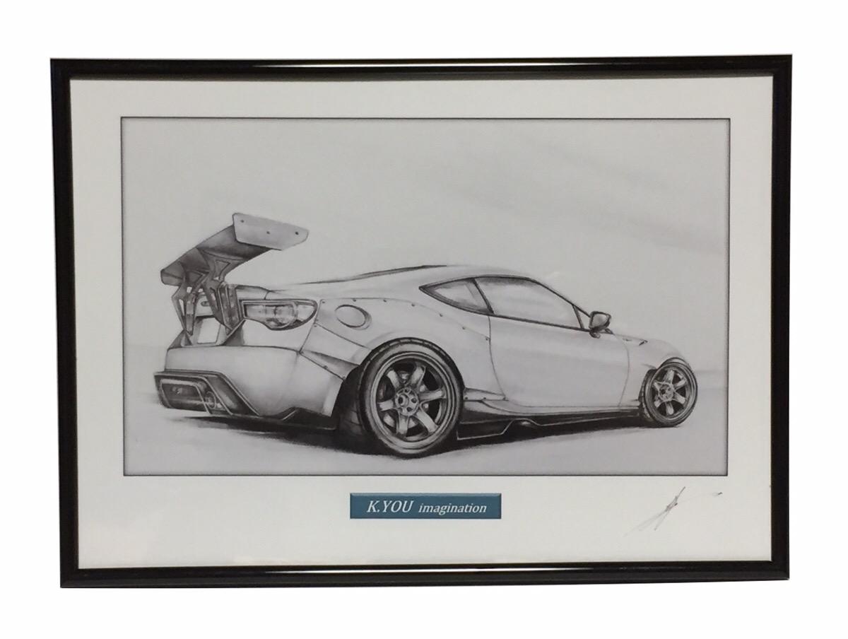 鉛筆画 トヨタ 86カスタム リア 旧車 A4額入り 原画コピー 名車 作者直筆サイン入り 爆買い新作 イラスト 正規激安