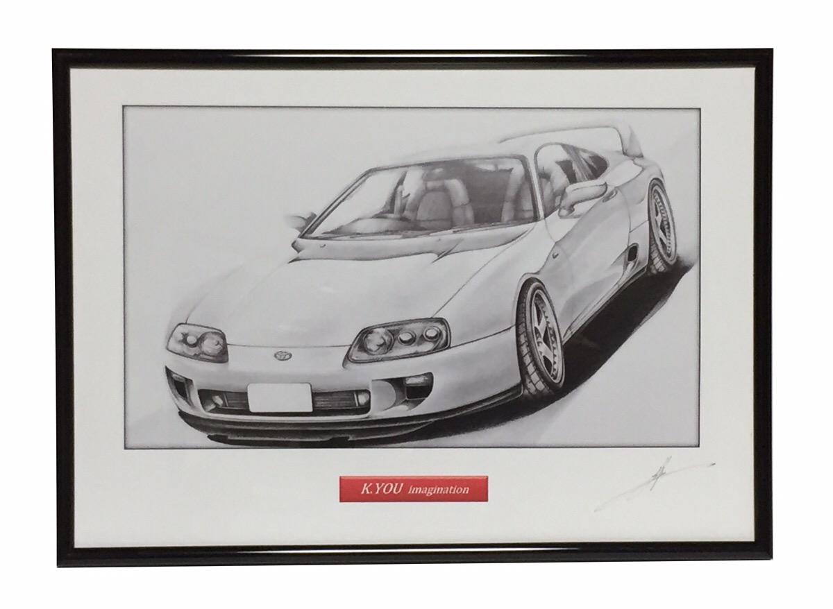 信用 鉛筆画 トヨタ スープラA80 旧車 名車 原画コピー イラスト 作者直筆サイン入り 在庫あり A4額入り