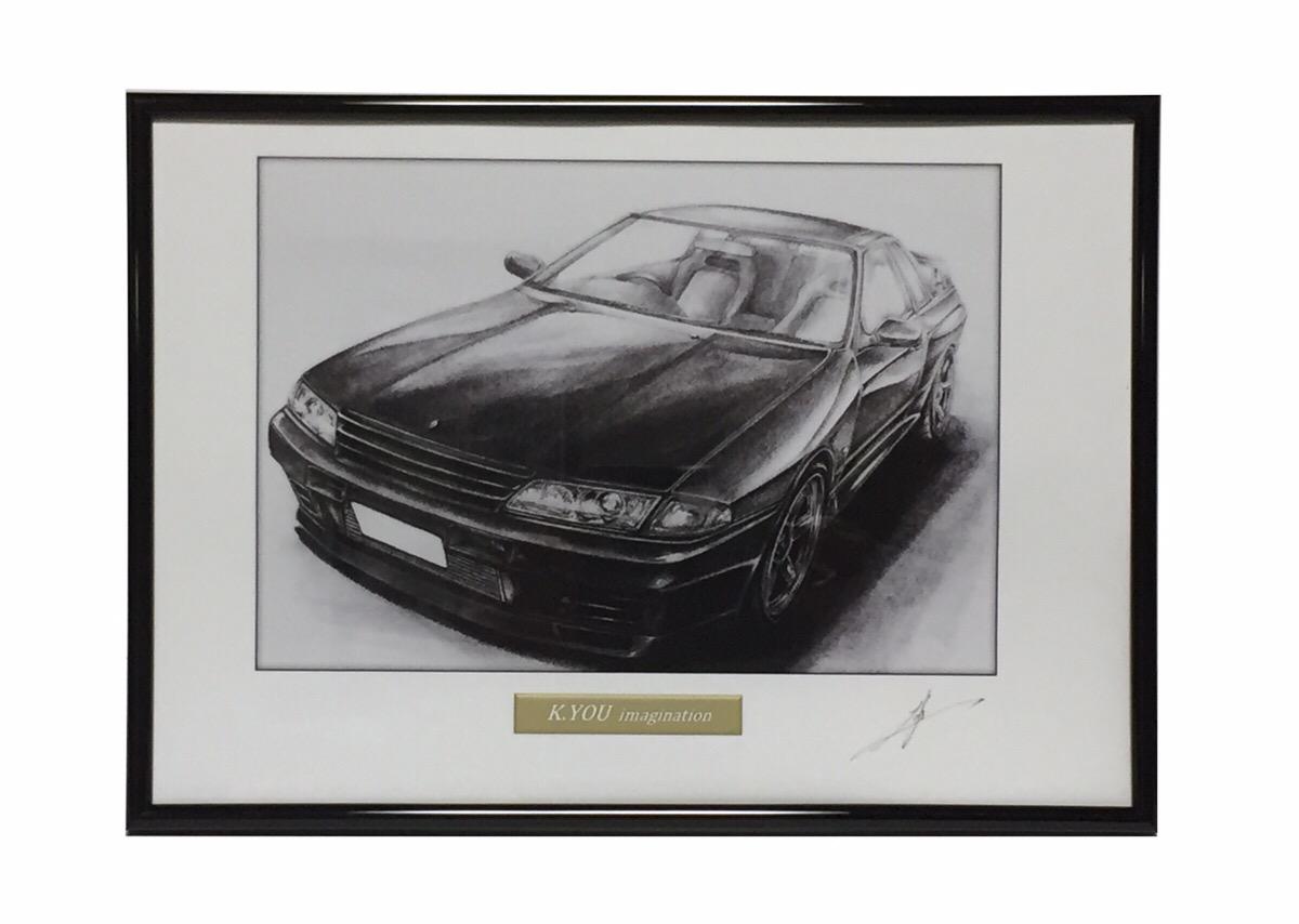鉛筆画 スカイライン 新色追加 R32 GT-R 旧車 名車 作者直筆サイン入り いつでも送料無料 A4額入り イラスト 原画コピー