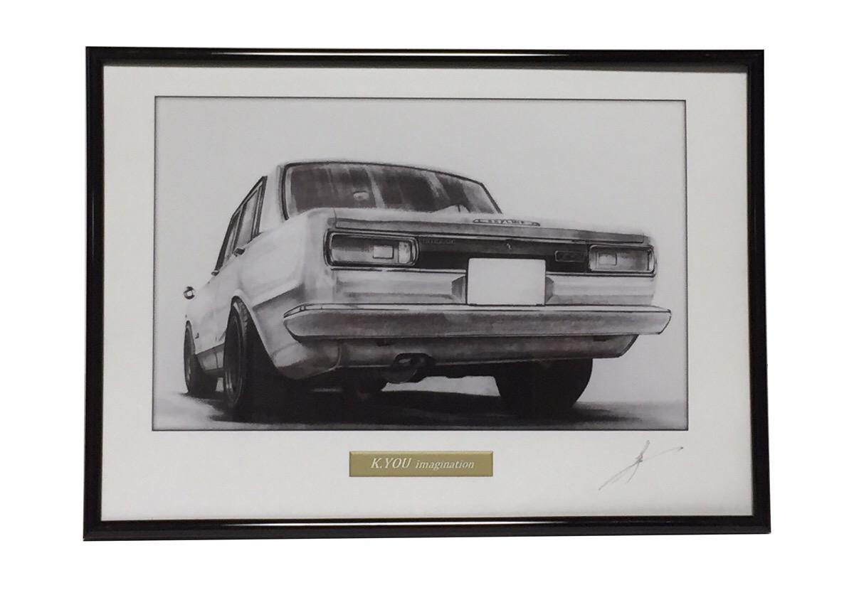 鉛筆画 ハコスカ セール商品 4ドア GT-R前期 旧車 イラスト 美品 原画コピー A4額入り 名車 作者直筆サイン入り