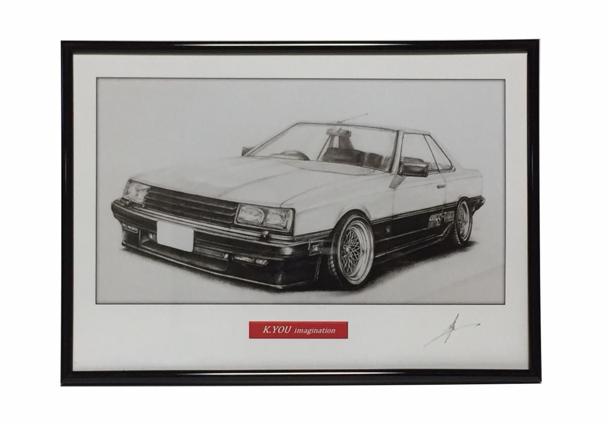 鉛筆画 スカイライン 限定Special 上等 Price RS R30 旧車 作者直筆サイン入り イラスト A4額入り 名車 原画コピー
