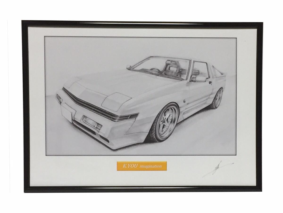 鉛筆画 三菱スタリオン GSR-VR 旧車 名車 原画コピー マーケティング A4額入り マーケティング イラスト 作者直筆サイン入り