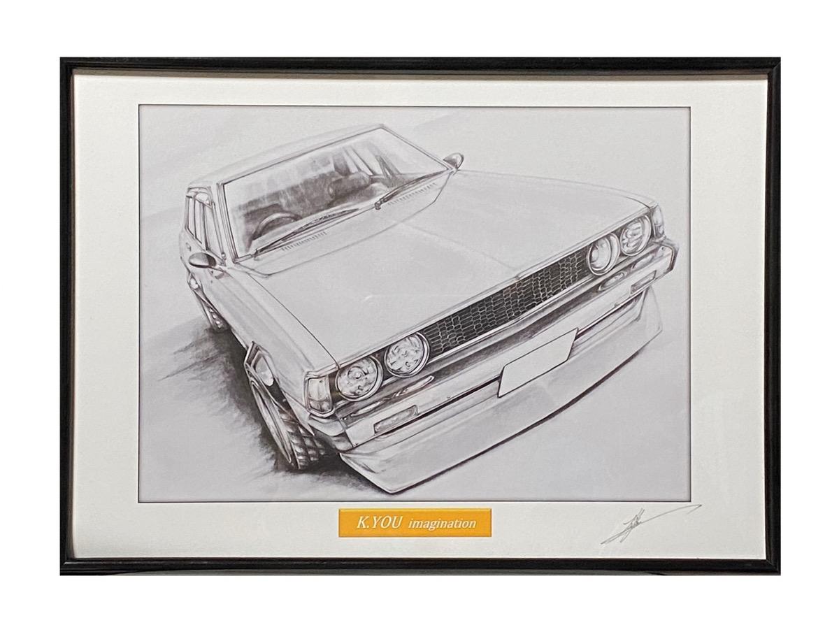 鉛筆画 三菱 ギャラン 格安SALEスタート シグマ GSRカスタム 旧車 イラスト 品質検査済 原画コピー 作者直筆サイン入り 名車 A4額入り