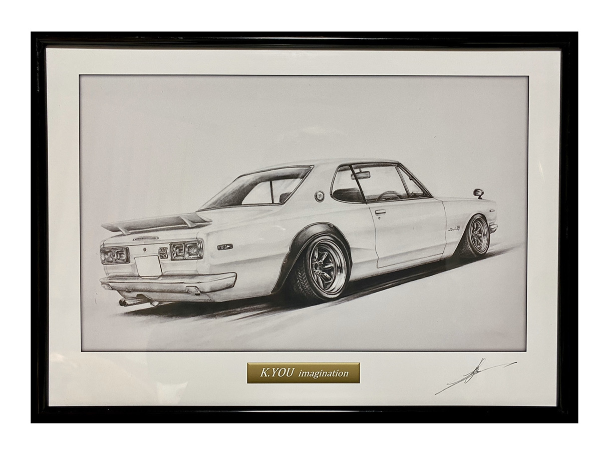 鉛筆画 ハコスカ GT-R 2ドア リアサイド 旧車 新作多数 A4額入り 名車 原画コピー 作者直筆サイン入り ファッション通販 イラスト