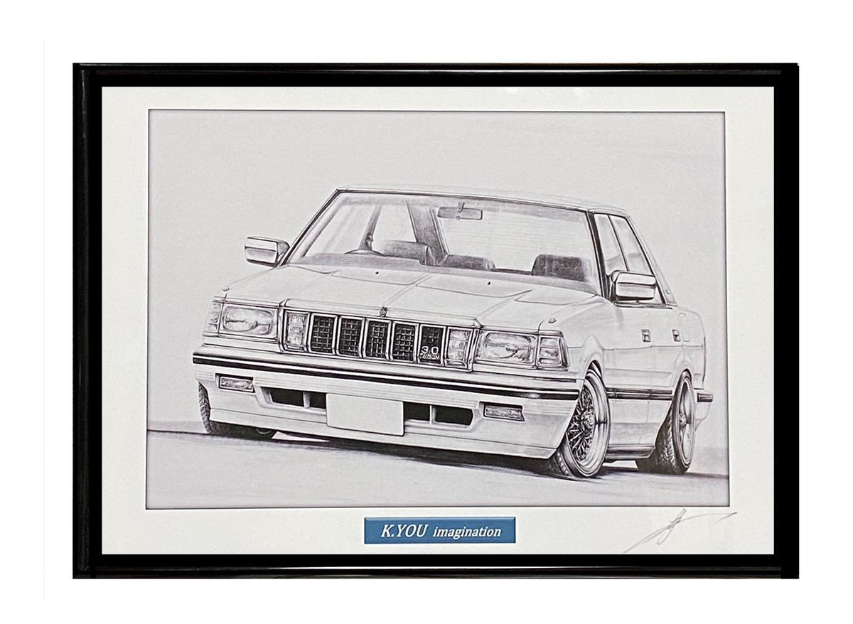 鉛筆画 OUTLET SALE トヨタ 120クラウン 旧車 名車 A4額入り 原画コピー イラスト [宅送] 作者直筆サイン入り
