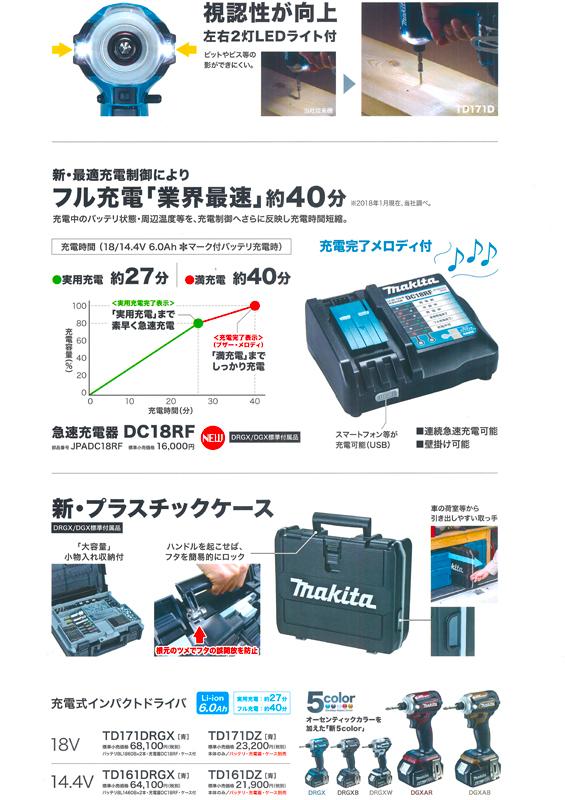 [新品|未使用品|本体と収納ケースのみ]Makita|マキタ18V6.0Ah充電式インパクトドライバTD171DZARボディー:オーセンティックブラウン本体+収納ケースのみ最新モデル