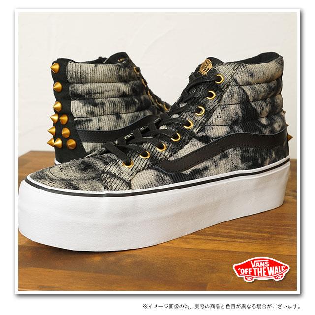 2dca3c0764771e VANS vans sneakers CLASSICS SK8-HI PLATFORM classical music skating high  platform (STUDDED) BLACK WASHED CORD (VN-0RRFAIT HO13)