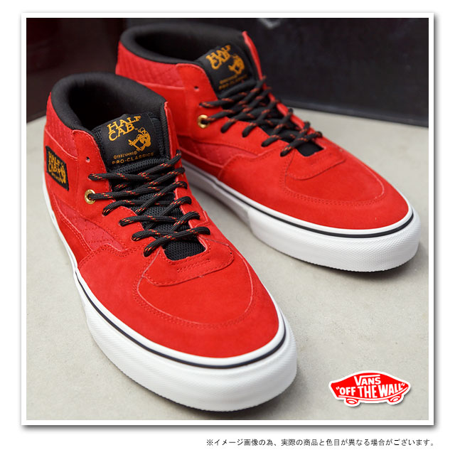 vans half cab pro quilted red