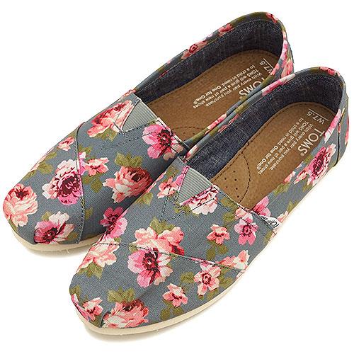 TOMS湯姆鞋女士運動鞋WOMENS SEASONAL CLASSICS種子無效古典女式無袖內衣開Grey Pink Floral(10002840 FW14)