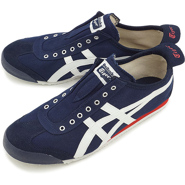 婦女的運動鞋墨西哥 66,鬼塚虎鬼塚虎男人滑墨西哥 66 滑深藍 / 白色 (TH3K 0N 5099 SS15)