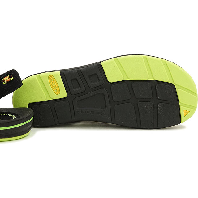 KEEN keen mens Sandals shoes water UNEEK MNS unique mens Black/Green Glow (1013889 FW15)