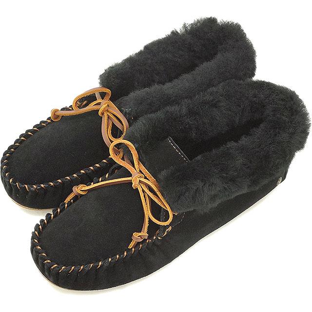 emu エミュー ムートンブーツ MOONAH ムーナ 靴 (スウェード/シープスキン) モカシンシューズ BLACK 靴 (W10926 FW15) 【emu エミュー】【EUロゴ】【コンビニ受取対応商品】