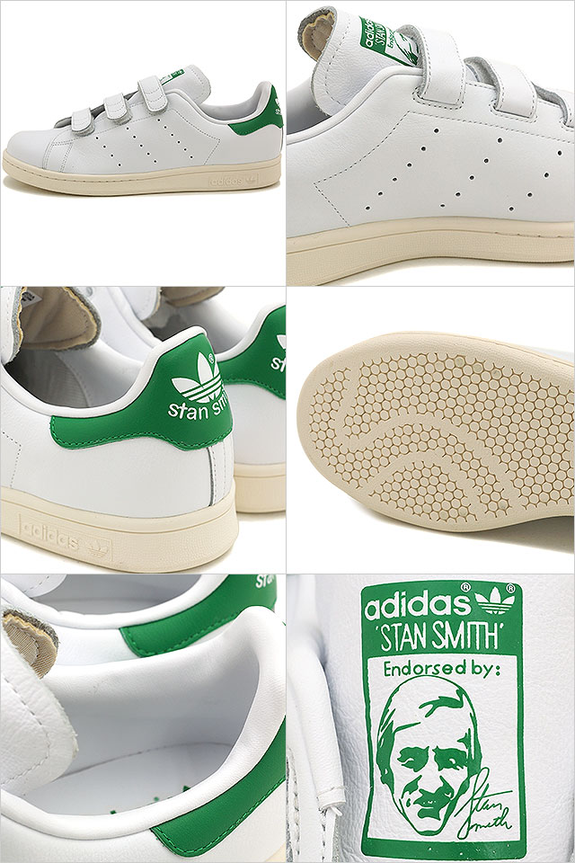 阿迪达斯原件阿迪达斯原件斯坦史密斯安慰男装女装斯坦史密斯 CF TF 白色 / 绿色 AQ5357 FW15 [阿迪达斯原件] 斯坦魔术贴运动鞋