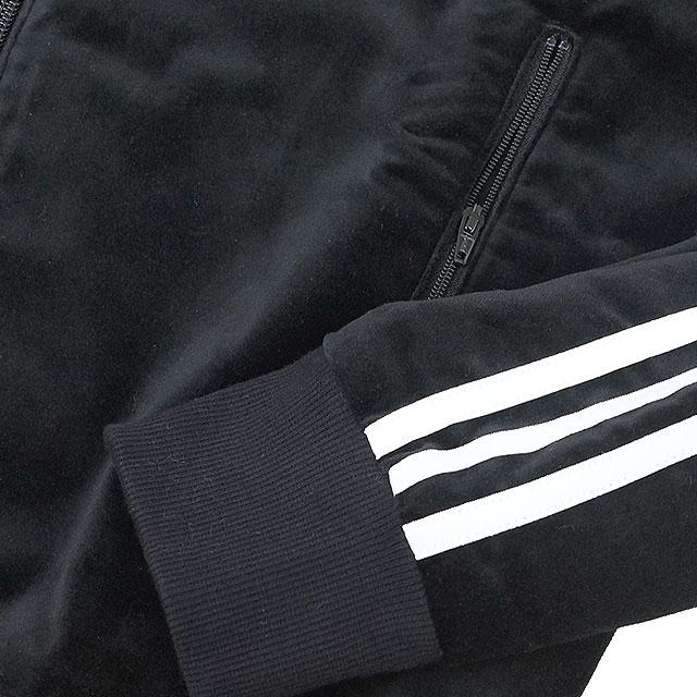 日本限定adidas Originals愛迪達原始物運動衫SS VELOUR TRACK TOP天鵝絨卡車最高層黑色/黑色/白(AO3567 FW15)