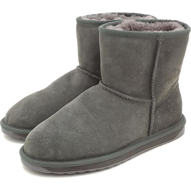 emu エミュー シープスキン ブーツ STINGER MINI スティンガー ミニ CHARCOAL靴 (W10003 FW15)/エミューブーツ 正規品【EUロゴ】【コンビニ受取対応商品】