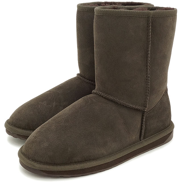 emu エミュー シープスキン ブーツ STINGER LO スティンガー ロー CHOCOLATE靴 (W10002 FW15)/エミューブーツ 正規品【EUロゴ】【コンビニ受取対応商品】