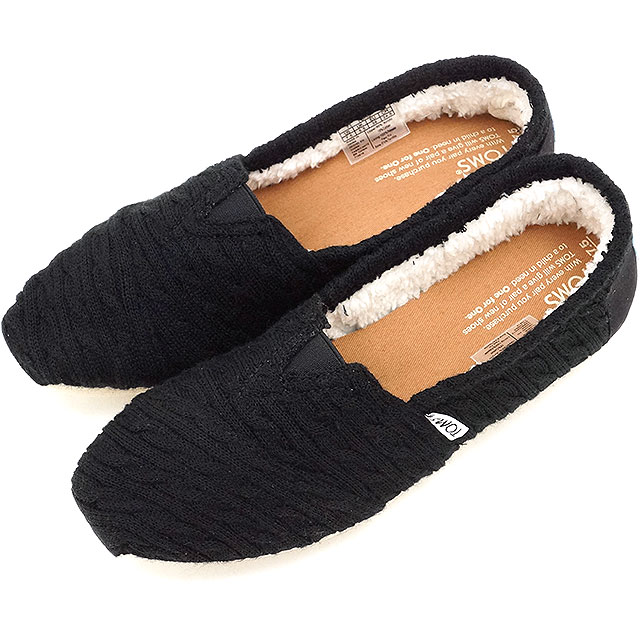 359680a672 Tom s shoes women original classical music TOMS SHOES Lady s sneakers  slip-ons WOMENS SEASONAL CLASSICS Black Cable Knit with Shearling (10008923  FW16)