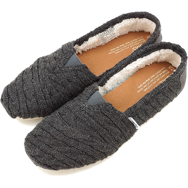 8c2aac74f17 Tom s shoes women original classical music TOMS SHOES Lady s sneakers shoes  slip-ons WOMENS SEASONAL CLASSICS Forged Iron Grey Cable Knit with  Shearling ...