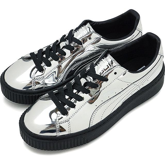 1dfbf96cb73 Puma basket platform metallic PUMA Lady s sneakers BASKET PLATFORM METALLIC  silver   silver   Puma black (362