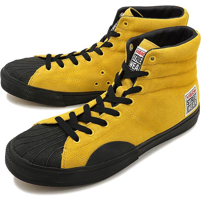 【即納】VISION STREET WEAR ヴィジョン ストリートウェア メンズ スニーカー 靴 SUEDE HI ビジョン スケートシューズ スエード ハイカット イエロー [VSW-7351]