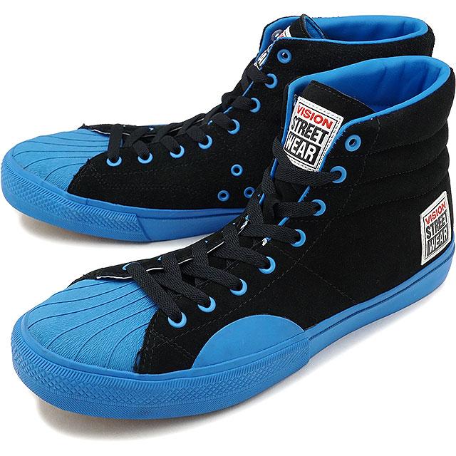 【即納】VISION STREET WEAR ヴィジョン ストリートウェア メンズ スニーカー 靴 SUEDE HI ビジョン スケートシューズ スエード ハイカット ブラック ブルー [VSW-7351]