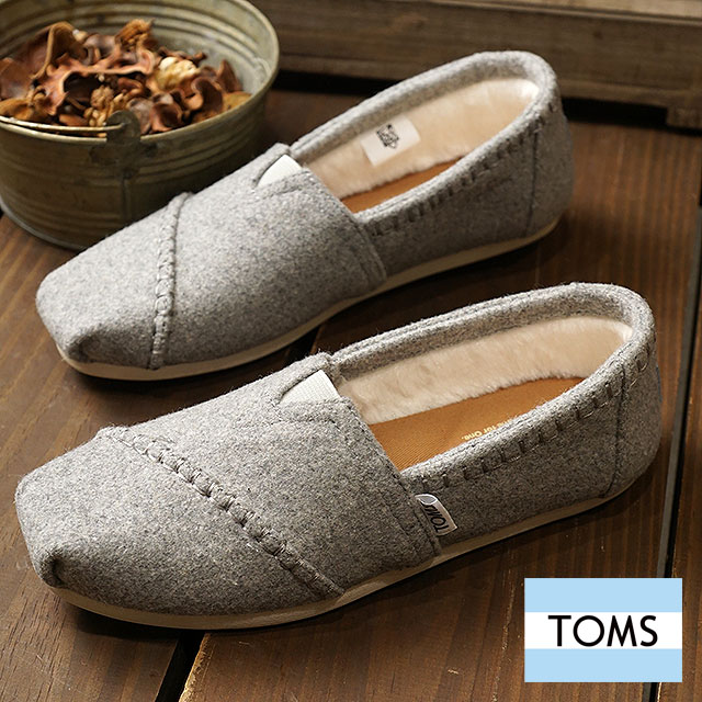 7dbc52375e Slip-ons WOMENS - SEASONAL CLASSICS seeds null classical music Drizzle Grey  Wool Faux Shearling shoes with the TOMS SHOES Tom s Thoms shoes Lady s boa  ...