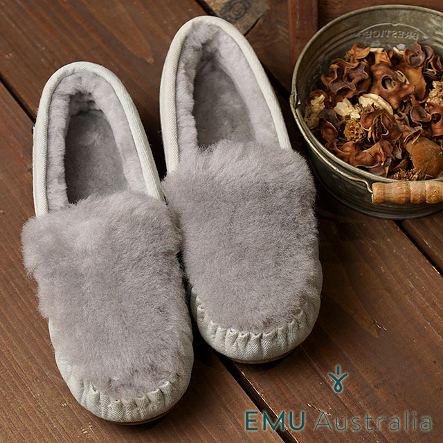 Mischief: Emu Emu Mouton Moccasins Shoes CAIRNS FUR DENIM