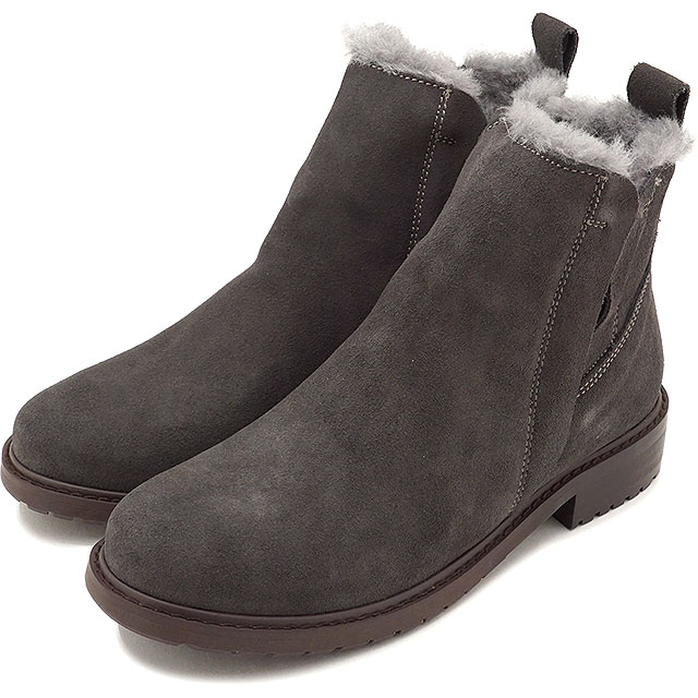 emu エミュー ムートン 防水スエード サイドゴアブーツ Pionner パイオニア CHARCOAL 靴 (W11292 FW18)【コンビニ受取対応商品】