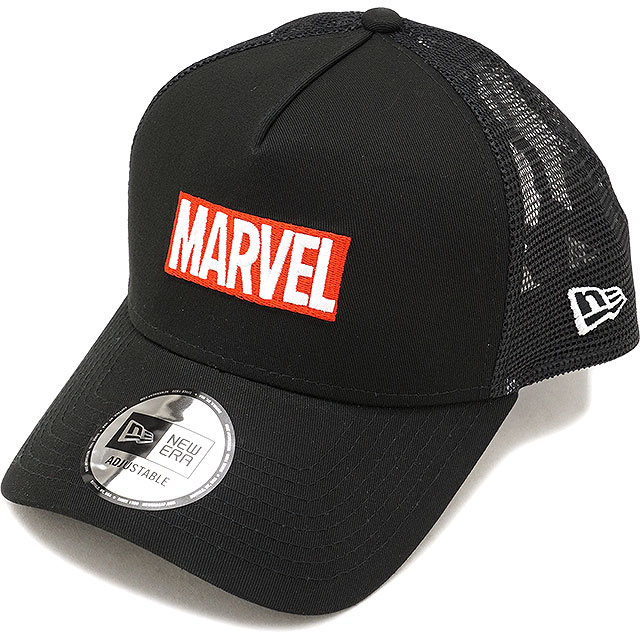 NEWERA new gills cap New Era MARVEL Ma Bell logo 9FORTY AF trucker snapback  mesh cap hat black  S white (11538463 FW17) 70b3c44e8a8