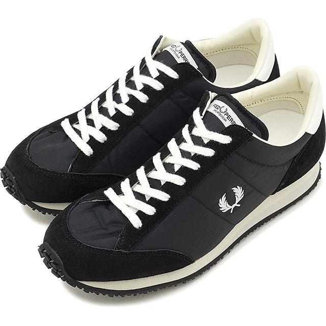 【即納】FRED PERRY フレッドペリー ヴィンソン ナイロン VINSON NYLON スニーカー 靴 メンズ・レディース BLACK (F29614-07 FW18)【コンビニ受取対応商品】