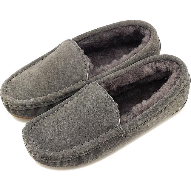 エミュー EMU シープスキンファー スエードモカシン タリア PLTalia PL レディース ムートン 靴 Charcoal (W11089 FW18)【コンビニ受取対応商品】