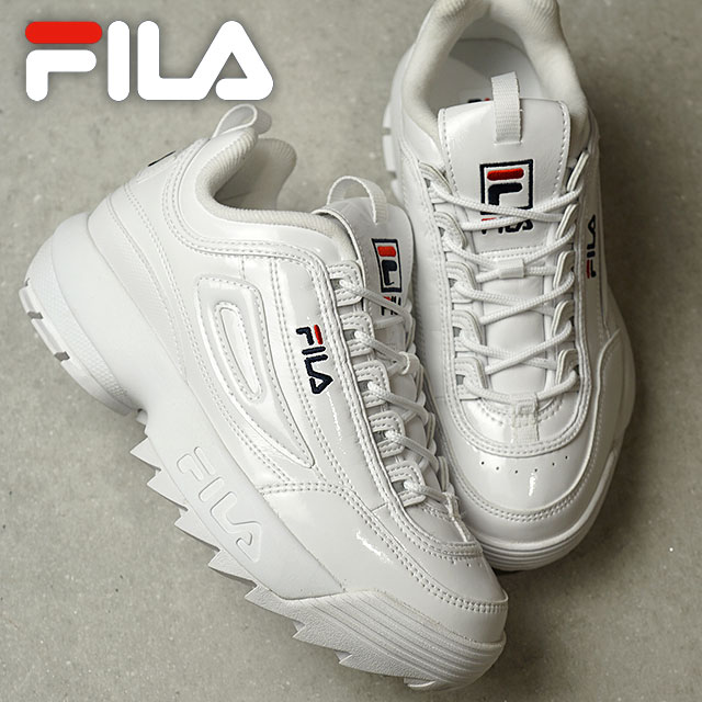 Fila heritage FILA レディースディスラプター 2 enamel women DISRUPTOR 2 ENAMEL WMNS  sneakers shoes WHT [F0207-1081 FW18]