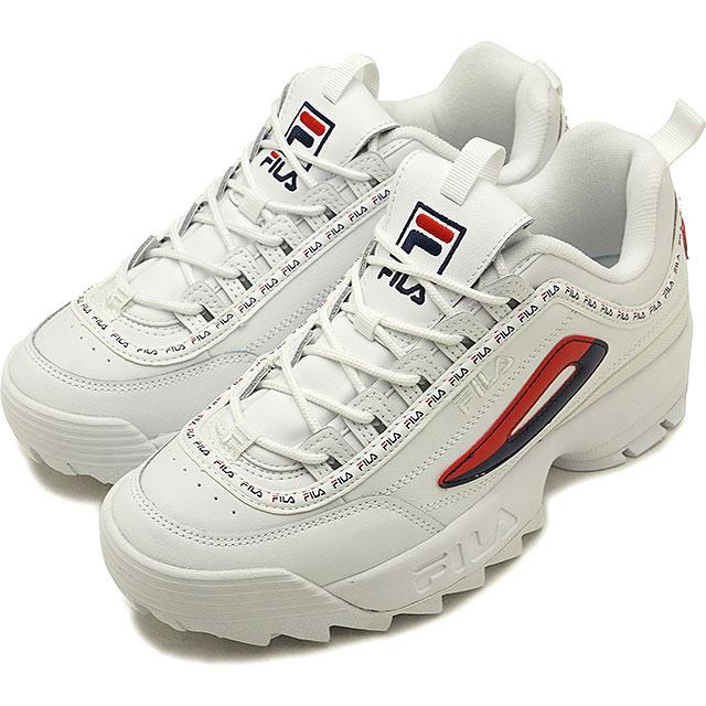 Fila heritage FILA レディースディスラプター 2 premium repeat women DISRUPTOR 2 PREMIER REPEAT WMNS sneakers shoes white /F navy /F red [F0262-0125 FW18]
